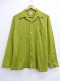 L★古着 長袖 ビンテージ シャツ 70年代 バンヒューセン 開襟 オープンカラー 緑 グリーン 19oct18 中古 メンズ トップス