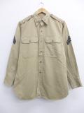 M★古着 長袖 ビンテージ ミリタリー シャツ 50年代 マチ付き USA製 ベージュ カーキ 19oct18 中古 メンズ トップス