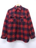 M★古着 長袖 ビンテージ ウール シャツ 50年代 ビッグヤンク マチ付き 赤 レッド 19nov01 中古 メンズ トップス