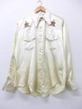 L★古着 長袖 ビンテージ ウエスタン シャツ 70年代 人 手縫い刺繍 白系 ホワイト 19nov01 中古 メンズ トップス