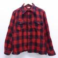 M★古着 長袖 ビンテージ ウール シャツ 50年代 50s 赤 レッド バッファロー チェック 20feb25 中古 メンズ トップス