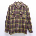 L★古着 長袖 ビンテージ ウール シャツ 40年代 40s USA製 エンジ チェック 20feb25 中古 メンズ トップス