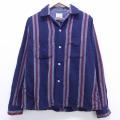 L★古着 長袖 ビンテージ ウール シャツ 60年代 60s バンヒューセン 紺 ネイビー ストライプ 20feb25 中古 メンズ トップス