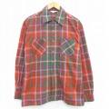 L★古着 長袖 ビンテージ シャツ 50年代 50s 開襟 オープンカラー 赤他 レッド チェック 20oct28 中古 メンズ トップス