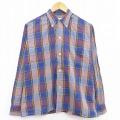 L★古着 長袖 ビンテージ シャツ 60年代 60s ブレント ボタンダウン 青他 ブルー チェック 20nov06 中古 メンズ トップス