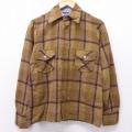 M★古着 長袖 ビンテージ ウール シャツ 70年代 70s 茶 ブラウン チェック 21feb15 中古 メンズ トップス