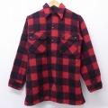 L★古着 長袖 ビンテージ ウール シャツ 50年代 50s 赤 レッド バッファロー チェック 21feb15 中古 メンズ トップス