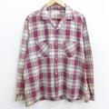 XL★古着 長袖 ビンテージ シャツ 60年代 60s タウンクラフト コットン 開襟 オープンカラー 赤他 レッド チェック 21mar01 中古 メンズ トップス
