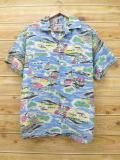 L★古着 半袖 ビンテージ ハワイアン アロハ シャツ 60年代 ペニーズ 和柄 水色 【spe】 18apr18 中古 メンズ トップス