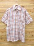 M★古着 半袖 ビンテージ シャツ 70年代 白 ホワイト チェック 18may25 中古 メンズ トップス