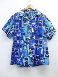 XL★古着 ビンテージ ハワイアン シャツ 60年代 ハワイ製 青 ブルー 19jun13 中古 メンズ トップス