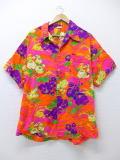XL★古着 半袖 ビンテージ ハワイアン シャツ 70年代 花 大きいサイズ ハワイ製 オレンジ 19jul19 中古 メンズ トップス