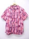 【20%OFF】L★古着 ビンテージ ハワイアン シャツ 60年代 花 ハワイ製 赤 レッド 19jul26 中古 メンズ トップス