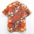 L★古着 半袖 ビンテージ ハワイアン シャツ 50年代 50s 花柄 開襟 ハワイ製 オレンジ他 20jul30 中古 メンズ トップス