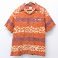XL★古着 半袖 ビンテージ ハワイアン シャツ 60年代 60s イオラニ 開襟 オープンカラー ハワイ製 オレンジ 20aug20 中古 メンズ トップス