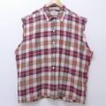 XL★古着 ノースリーブ ビンテージ シャツ 60年代 60s マンハッタン 大きいサイズ コットン 赤他 レッド チェック 20aug20 中古 メンズ トップス