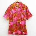 XL★古着 半袖 ビンテージ ハワイアン シャツ メンズ 70年代 70s ハイビスカス 開襟 オープンカラー エンジ他 21jun18 中古 トップス