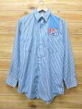 M★古着 長袖 ワーク シャツ 80年代 ペプシ USA製 青 ブルー ストライプ 【spe】 18jun08 中古 メンズ トップス