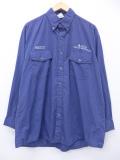 XL★古着 長袖 ワーク シャツ デルタ航空 大きいサイズ 紺 ネイビー チェック 19sep03 中古 メンズ トップス