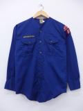 S★古着 長袖 ボーイスカウト シャツ 80年代 アトランタ ノーカラー USA製 紺 ネイビー 19sep03 中古 メンズ トップス