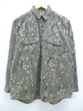 XL★古着 長袖 ハンティング シャツ 90年代 葉 コットン USA製 迷彩 19oct18 中古 メンズ トップス