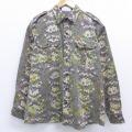 XL★古着 長袖 ワーク シャツ 90年代 90s 葉 USA製 こげ茶 ブラウン 【spe】 19nov29 中古 メンズ トップス