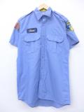 M★古着 半袖 ワーク シャツ レッドキャップ セキュリティ 薄紺 ネイビー 19aug23 中古 メンズ トップス