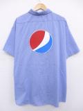 XL★古着 半袖 ワーク シャツ ペプシ 大きいサイズ 青他 ブルー チェック 【spe】 19aug26 中古 メンズ トップス
