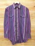 M★古着 長袖 ウエスタン シャツ 90年代 ラングラー Wrangler USA製 紫 パープル ストライプ 18mar01 中古 メンズ トップス