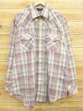 XL★古着 長袖 ウエスタン シャツ 80年代 JCペニー ベージュ カーキ チェック 18mar16 中古 メンズ トップス
