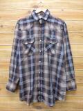 XL★古着 長袖 ウエスタン シャツ 80年代 DEE CEE USA製 こげ茶 ブラウン チェック 18apr02 中古 メンズ トップス