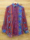 M★古着 長袖 ウエスタン シャツ 90年代 ラングラー Wrangler ネイティブ柄 USA製 赤他 レッド 【spe】 18apr23 中古 メンズ トップス