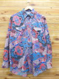 L★古着 長袖 ウエスタン シャツ 90年代 ラングラー Wrangler ネイティブ柄 ラグ柄 青他 ブルー 18jun04 中古 メンズ トップス