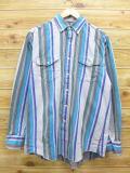 L★古着 長袖 ウエスタン シャツ 90年代 ラングラー Wrangler 青 ブルー ストライプ 18jun04 中古 メンズ トップス
