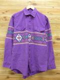 L★古着 長袖 ウエスタン シャツ 90年代 ラングラー Wrangler ネイティブ柄 ラグ柄 紫 パープル 【spe】 18jun04 中古 メンズ トップス