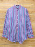 L★古着 長袖 ウエスタン シャツ 90年代 ラングラー Wrangler USA製 紫他 パープル ストライプ 18sep07 中古 メンズ トップス