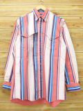 L★古着 長袖 ウエスタン シャツ 90年代 ラングラー Wrangler USA製 ピンク他 ストライプ 18oct18 中古 メンズ トップス