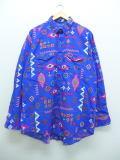 XL★古着 長袖 ウエスタン シャツ 90年代 ラングラー Wrangler ネイティブ柄 USA製 青系 ブルー 【spe】 18nov16 中古 メンズ トップス