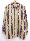 XL★古着 長袖 ウエスタン シャツ ラングラー Wrangler ネイティブ柄 大きいサイズ ベージュ カーキ 19mar06 中古 メンズ トップス
