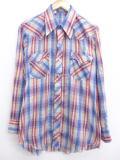 M★古着 長袖 ウエスタン シャツ 70年代 USA製 薄紺 ネイビー オンブレ チェック 19mar06 中古 メンズ トップス