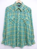 XL★古着 長袖 ウエスタン シャツ 80年代 緑 グリーン オーバー チェック 19jun26 中古 メンズ トップス