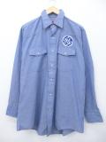 XL★古着 長袖 ウエスタン シャツ 90年代 レッドキャップ ワッペン USA製 薄紺 ネイビー 19sep12 中古 メンズ トップス