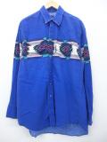 XL★古着 長袖 ブランド ウエスタン シャツ ラングラー Wrangler ネイティブ柄 青 ブルー 19sep12 中古 メンズ トップス
