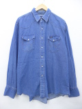 XL★古着 長袖 ブランド ウエスタン シャツ ラングラー Wrangler 大きいサイズ デニム 19sep12 中古 メンズ トップス