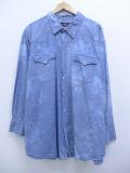 XL★古着 長袖 ウエスタン シャツ 90年代 シャンブレー コットン ロング丈 大きいサイズ 薄紺 ネイビー タイダイ 19sep12 中古 メンズ トップス