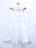 L★古着 長袖 ウエスタン シャツ 70年代 Kマート バラ 刺繍 白 ホワイト 19oct03 中古 メンズ トップス
