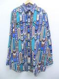 XL★古着 長袖 ウエスタン シャツ 90年代 ネイティブ柄 ラグ柄 ロング丈 USA製 青他 ブルー 19oct03 中古 メンズ トップス