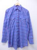 L★古着 長袖 ウエスタン シャツ ビンテージ 80年代 パンハンドルスリム USA製 水色他 チェック 19oct21 中古 メンズ トップス