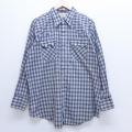 XL★古着 長袖 ウエスタン シャツ 80年代 80s DEE CEE USA製 大きいサイズ 紺他 ネイビー オーバー チェック 19dec20 中古 メンズ トップス