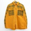 XL★古着 長袖 シャツ 90年代 90s コットン オレンジ チェック 【spe】 20mar18 中古 メンズ トップス